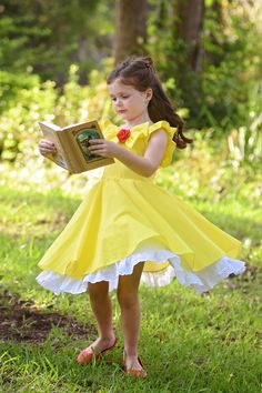 This is our latest style: the Belle swirl dress. Disney Dresses, Disney Outfits, Kids Outfits, Belle Inspired Dress, Belle Dress Kids, Little Girl Dresses, Girls Dresses, Costume Dress, Girl Costumes