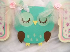 Sleeping owl banner its a girl baby shower by NancysBannerBoutique