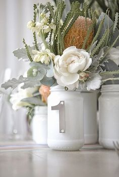 Jam jar table numbers :) Florals by White Lotus, Mod Brunch Inspiration Shoot by White Room Events Wedding Jars, Fall Wedding, Diy Wedding, Wedding Flowers, Dream Wedding, Wedding Ideas, Wedding Story, Wedding Trends, Wedding Tables