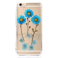Transparent Real Flowers Specimen Epoxy Soft TPU Back Cover Case for iPhone 6/ 6S - Blue Flowers