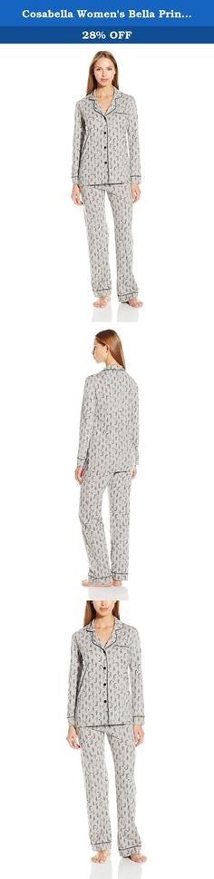 Cosabella Women's Bella Printed Long Sleeve Top and Pant Pajama Set, Black, Small. Sophisticated, feminine interpretation of classic men's pajama styles. Made in super soft pima cotton and modal, this group is finished with classic touches of satin binding.