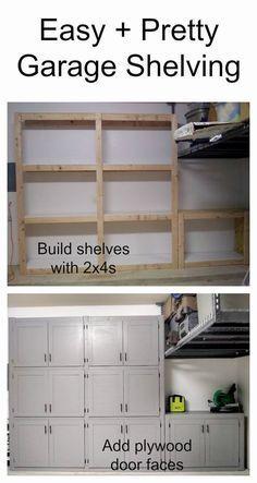 DIY garage shelves with doors