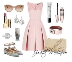 """Pink netting with grey"" by judith-molinero-fashion on Polyvore featuring BCBGMAXAZRIA, Valentino, Chanel, Givenchy, NARS Cosmetics, Gucci, Maybelline, Swarovski, Clarins and Burberry"