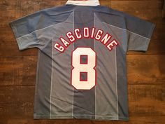 1996 England Away Shirt with print of Gascoigne and number 8