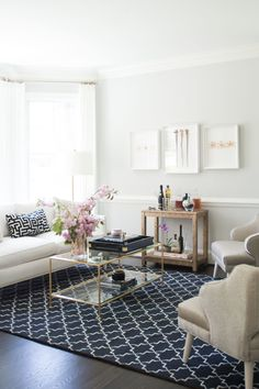 """I love the colors we selected for this room. The combination of the natural light coming in and the white color scheme makes it feel light, airy, and warm."" -Naina Singla   - ELLEDecor.com"