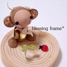 Quilled Monkey with a banana - by: Ai - blessing frame