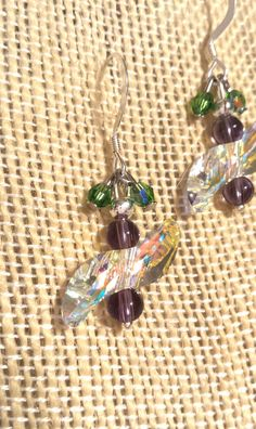 Iridescent or AB Swarovski Crystal Elements  Wave Shaped Crystals, Amethyst Crystals, and Tiny Green Swarovski Crystal Clusters on Sterling Silver French Wire Earrings  by FlowerFelicity