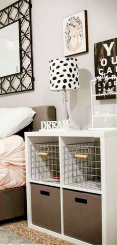 College Dorm Idea for Freshman Year - Get these storage cubes shelves for my dorm room - love the baskets and bins!