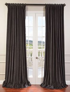 Captivating Iron Grey Doublewide Vintage Cotton Velvet Curtain   SKU: VCCH VET1209 DW At