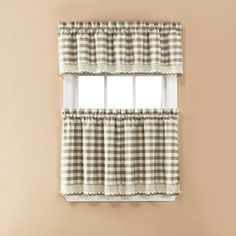@Overstock - Naturally woven cotton with a traditional plaid pattern combine to form this three-piece tier set from Norwalk. A tier set and one valance complete this set.     http://www.overstock.com/Home-Garden/Norwalk-Plaid-Rod-Pocket-3-piece-Tier-Set/7576666/product.html?CID=214117 $19.99