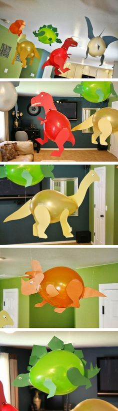 Balloons and paper is all you need to make home decor for kids party. Dinosaurs!