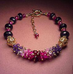"""Купить Браслет из натуральных камней """"Дельфиниум"""" - аметистовый браслет, браслет аметистовый, аметист натуральный фиоле"""