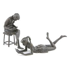 Solid Bronze sculptures, 'Large Seated Boy' - high and Large Girl Reading Book - high. Both Limited Editions of 250 castings. Hand cast in Britain by Nelson & Forbes. Sculpted by Jonathan Sanders. Hand Cast, It Cast, Cool Works, Girl Reading Book, Sculptures, Lion Sculpture, Wedgwood, Bronze Sculpture, Britain