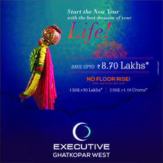 Gudi Padwa Best Offer Ever! Pay NO FLOOR RISE & SAVE upto 8.70 LACS* on booking a home in Executive-Ghatkopar West. Hurry! Offer valid only till 15th April 2016. For more details visit: www.executivebyjayceehomes.com
