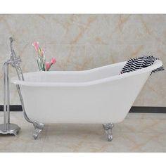 Ashton 1530 x 760mm Slipper Roll Top Cast Iron Bath with Traditional Chrome Feet