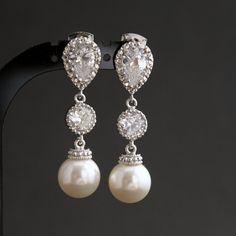 Wedding Pearl Jewelry Bridal Earrings Cubic by poetryjewelry, $36.25