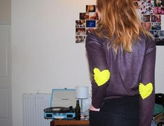 ==>DIY Elbow Patches  DIY - Studded neon elbow patches
