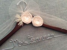ELEGANT IVORY FLOWERS Wedding Hanger, Wedding Name Hanger, Bridal Hanger, Wedding Dress hanger, Custom Wedding Hanger