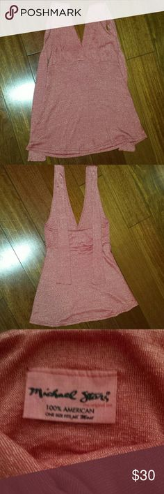 Michael stars halter top Salmon color with glitter very elegant halter top great for the holiday parties!! One size fits all. Mint condition Michael Stars Tops