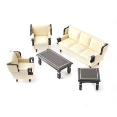 1:12 Scale Black and Cream Lounge Set