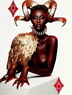 'Deck of Cards/The Diamond': Iman in Givenchy by Alexander McQueen Spring Summer 1997 Haute Couture; photographed by Inez van Lamsweerde Vinoodh Matadin for Visionaire 1997 Black Model 90s Fashion, Fashion Art, Last Unicorn, Black Models, Deck Of Cards, Headgear, Black Girl Magic, Givenchy, Alexander Mcqueen