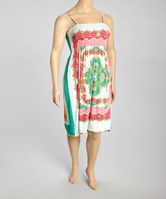 Another great find on #zulily! White & Pink Scarf Print Sleeveless Dress - Plus by India Boutique #zulilyfinds
