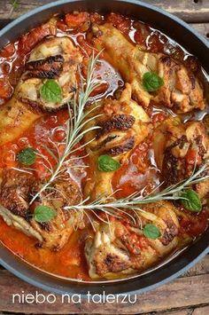 Szybki przepis na bardzo dobry obiad, udka z kurczaka w pomidorach curry, zdrowe danie fit dla osób na diecie, dzieci i dorosłych Snack Recipes, Dinner Recipes, Cooking Recipes, Healthy Recipes, Frango Chicken, European Dishes, Good Food, Yummy Food, Healthy Dishes