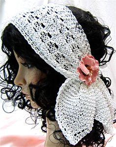 Knitted Scarf, White Grace, Lace Scarflette, Neckwear, headband, head wrap for bride by JanetLongArts    www.janetlongarts.com   http://www.etsy.com/shop/JanetLongArts