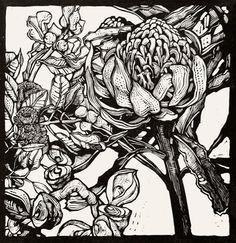 """Waratah Flower with Eucalyptus and Hakea Pods""  Andrew Crooks"