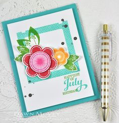 Happiest Of July Birthdays Card by Dawn McVey for Papertrey Ink (June 2014)