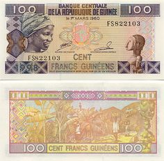 Guinea 100 Francs 1998 Obverse: Smiling Guinean African woman wearing a headdress. Background Information, Educational Websites, African Women, Marie, Vintage World Maps, Headdress, Roots, Collections, Woman