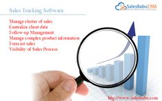 Sales #CRM #Software effectively contributes in #salestracking system. It preserve the structured information and offer an efficient information retrieval from  registering the leads, filtering to opportunity conversion, accurate product mapping and categorization, order processing and even tracking complaints, all are done, right inside a centralized database. Visit us at http://www.salesbabu.com/sales-tracking-software/  #salesforceautomation #startup #smallbusiness #Salesenablement