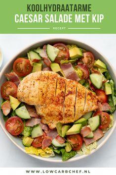 Caesar salad with chicken Healthy Recipe Videos, Super Healthy Recipes, Low Carb Dinner Recipes, Lunch Recipes, Go For It, Amish Recipes, Healthy Salads, Food Videos, Chicken Recipes