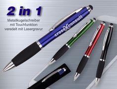 LINTOP sehr wertiger und schwerer Kugelschreiber aus Metall mit angenehm softiger Griffzone. Ihre Werbung mit hochwertiger Gravur. #kugelschreiber mit gravur #kugelschreiber metall