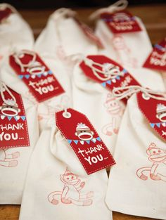 Rustic #SockMonkey First Birthday Party #Favors