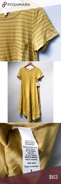 LuLaRoe Carly Dress LuLaRoe's Carly is the perfect swing dress, flowy and so comfortable. This Carly is simple and fun, with mustard yellow on yellow stripes.  ✅Bundle & Save 🚫Trades 🚫Off-Posh 🚫Modeling  💞Shop with ease; I'm a Posh Ambassador.💞 LuLaRoe Dresses