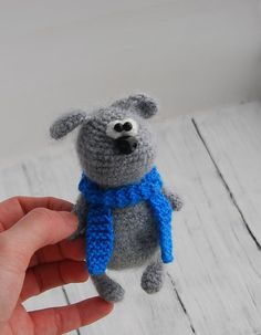 Knitted dog Grey Crochet toy Soft Fluffy puppy Amigurumi Miniature puppy Toy funny animal Blyth friend Gift for kid Gift for her OOAK