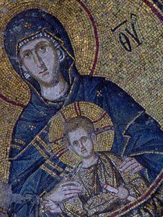 Madonna  Child,Mosaic in Hagia Sophia, Istanbul, Turkey