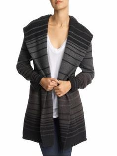 Great cashmere/wool blend sweater w/a hood.  Sophie Variegated Stripe.