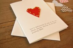 Hand-stitched leather heart card. $4.00, via Etsy. {these are so great}