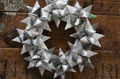 Weihnachtskranz aus Fröbelsternen selber machen