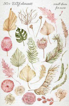 Floral Illustrations, Botanical Illustration, Watercolor Illustration, Watercolor Flowers, Watercolor Paintings, Watercolour, Leaf Clipart, Boho Flowers, Nursery Wallpaper