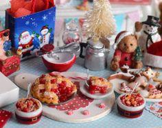 Miniatura Navidad tarta de cereza y conjunto de Zapatero
