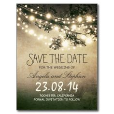 Rustic Save The Date Template Instant Download Wood String Lights - Rustic save the date templates