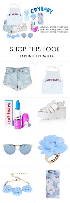 """they call me cry baby"" by capanda13 ❤ liked on Polyvore featuring GUESS, Lime Crime, Glamorous, Illesteva, Dettagli and Isaac Mizrahi"