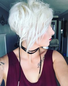 Pixie ice white hair pixie cut platinum pixie younique makeup black choker pallet two swanky lipstick platinum pixie hair cut long pixie mom pixie rayahope raya Coleman pixie 360 long side pixie style