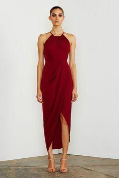 CORE HIGH NECK RUCHED DRESS - BURGUNDY – Shona Joy