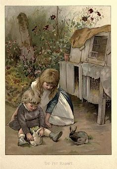 A girl, his little brother, two animals, where they sleep and have some food, flowers, a wall, grass and the floor. <3