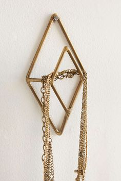 Geo Diamond Wall Hook - a few of these would make a cute jewelry wall Jewelry Hooks, Jewelry Wall, Jewelry Stand, Jewellery Storage, Diamond Wall, Apartment Essentials, Gold Walls, Wall Sculptures, Wall Hooks