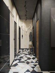 Carrelage géometrique dans un couloir